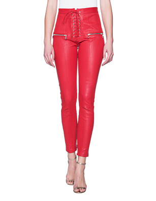 UNRAVEL Lace Up Skinny Red