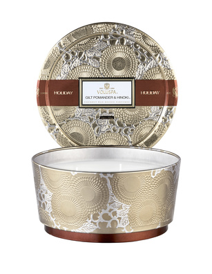VOLUSPA Pedestal 3 Wick Tin Off-White