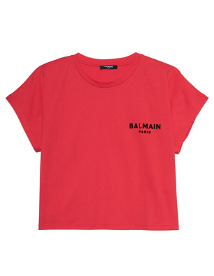 BALMAIN Cropped Flocked Logo Red
