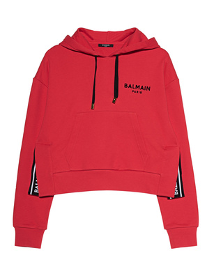 BALMAIN Cropped Flocked Logo Red