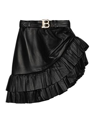BALMAIN Asymmetric Ruffled Leather
