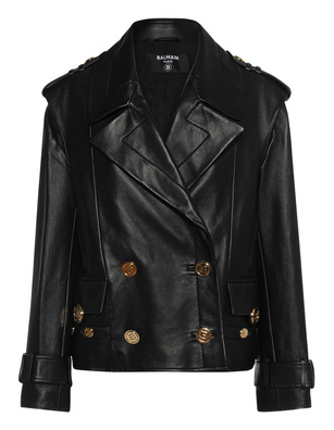BALMAIN 4 BTN Leather Peacot Black