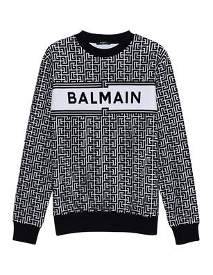 BALMAIN Monogram Flock Black White