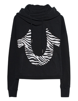 TRUE RELIGION Cropped Hood Zebra Black
