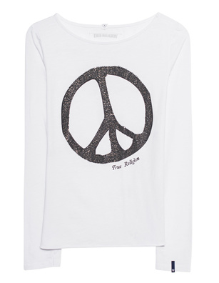 TRUE RELIGION Peace Rhinestones White