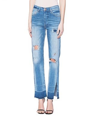 TRUE RELIGION Colette Destroy Broken Twill Blue