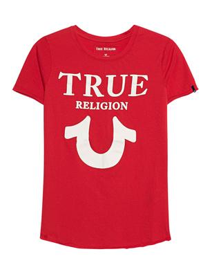 TRUE RELIGION Crew Shirt Logo Puffy Red