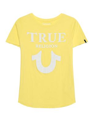 TRUE RELIGION Crew Shirt Logo Puffy Lemon