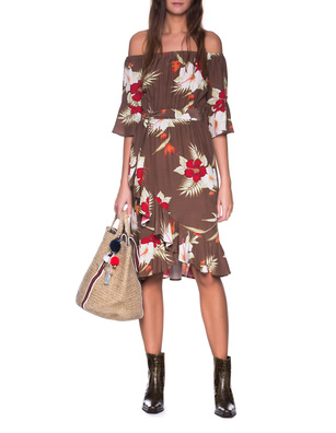TRUE RELIGION Vintage Lily Floral Wrap Brown