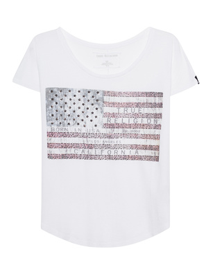 TRUE RELIGION American Flag Shirt White