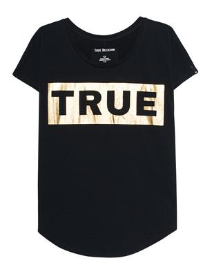 TRUE RELIGION Wide Crew Gold Black