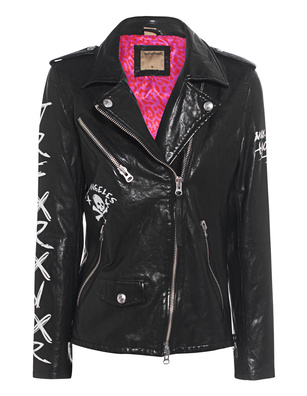 TRUE RELIGION Biker Printed Leather Black