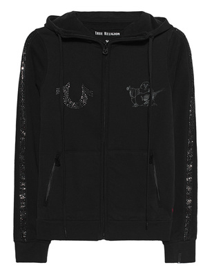 TRUE RELIGION Zip Hoodie Rhinestones Black