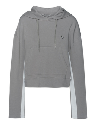 TRUE RELIGION Cropped Stripe Hood Grey