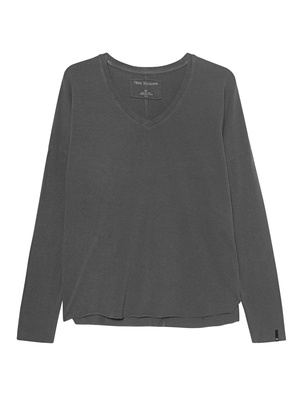 TRUE RELIGION Longsleeve V-Neck Relax Anthracite