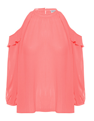 TRUE RELIGION Off-Shoulder Blouse Plissée Coral