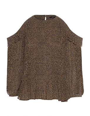 TRUE RELIGION Pleated Off Shoulder Khaki Leo