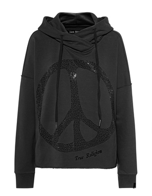 TRUE RELIGION Crop Peace Rhinestone Black