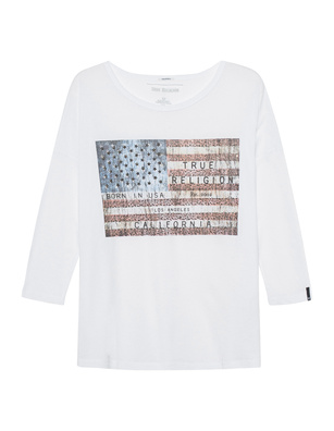 TRUE RELIGION American Flag Rhinestones White