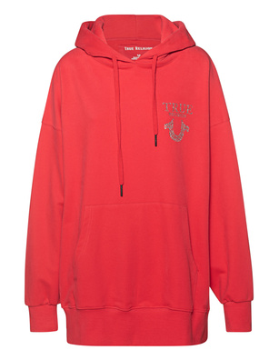 TRUE RELIGION Oversized Rhinestone Logo Red