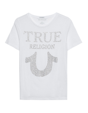 TRUE RELIGION Crew Neck Rhinestones White
