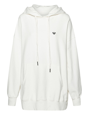 TRUE RELIGION Organic Cotton Oversize Hood Blanc Cream