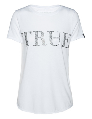 TRUE RELIGION Logo Rhinestones White