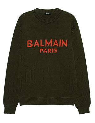 BALMAIN Logo Knit Khaki