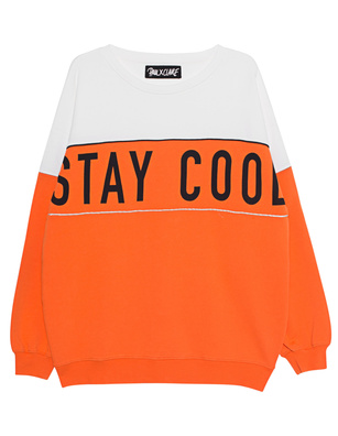 PAUL X CLAIRE Sweater Cut Out Oversize Orange