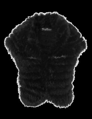 YOUNG COUTURE BY BARBARA SCHWARZER Bolero Fur Trim Black