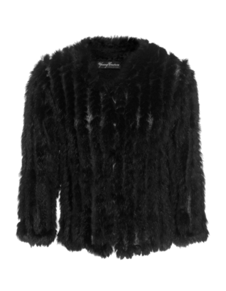 YOUNG COUTURE BY BARBARA SCHWARZER Luxury Knit Medium Sleeve Fur Black