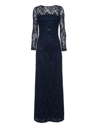 YOUNG COUTURE BY BARBARA SCHWARZER Long Lace Glam Navy