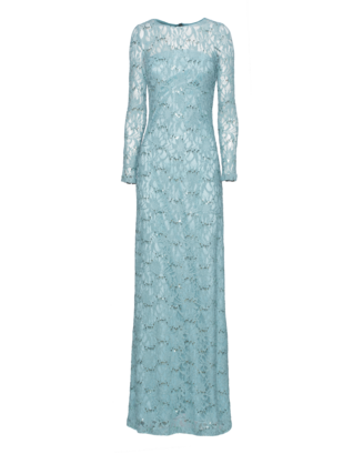 YOUNG COUTURE BY BARBARA SCHWARZER Long Lace Sequin Glam Mint