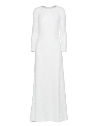 YOUNG COUTURE BY BARBARA SCHWARZER Long Lace Sequin Glam White