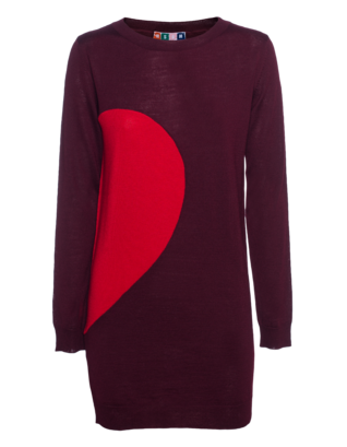 MSGM Heart Knit Bordeaux Red
