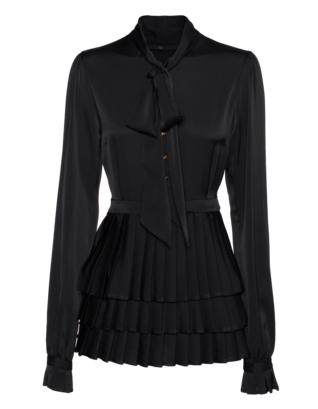 SLY 010 Pleat Peplum Silk Black
