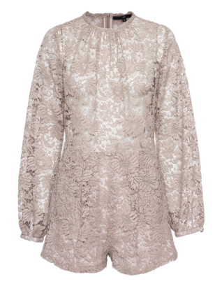 SLY 010 Short Floral Lace Beige