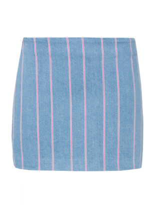 T BY ALEXANDER WANG Stripe Denim Mini Light Blue