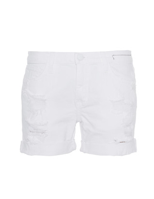 CURRENT/ELLIOTT The Slouchy Cut-Off White Tattered
