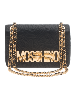 MOSCHINO Logo Embroidery Chain Black