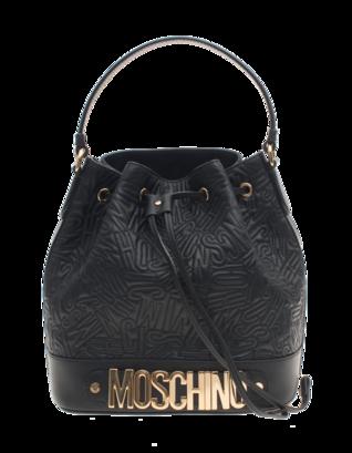 MOSCHINO Logo Embroidery Bucket Black