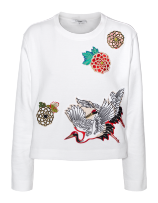 CARVEN Cropped Flower And Stork Patch White