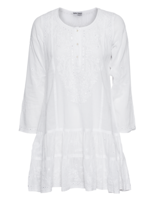 Juliet Dunn Embroidered Pleat Mini White