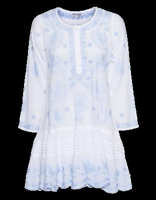 Juliet Dunn Embroidered Mini Blue White