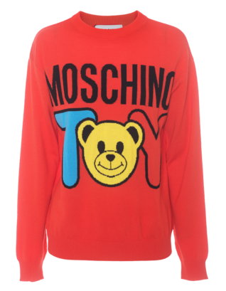 MOSCHINO Knit Bear Toy Red