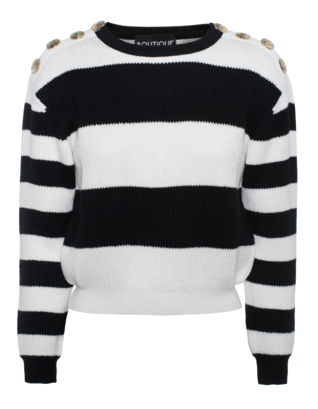 BOUTIQUE MOSCHINO Striped Buttons Black White