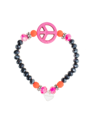 YUTA PASCH Howlith Peace And Glass Beads Pink