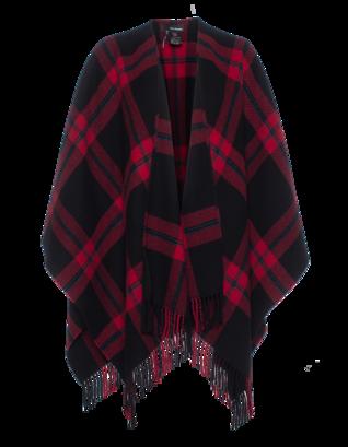 THE KOOPLES Checkered Wool Poncho Black