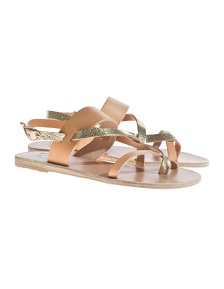 Ancient Greek Sandals Alethea Natural Cracked Gold