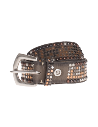 B.Belt Leather Stud Bronze Taupe